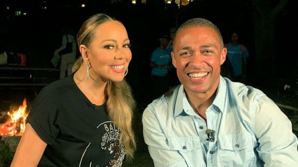 PHOTO: ABC News' T.J. Holmes chats with Mariah Carey about her most recent projects. (ABC News)