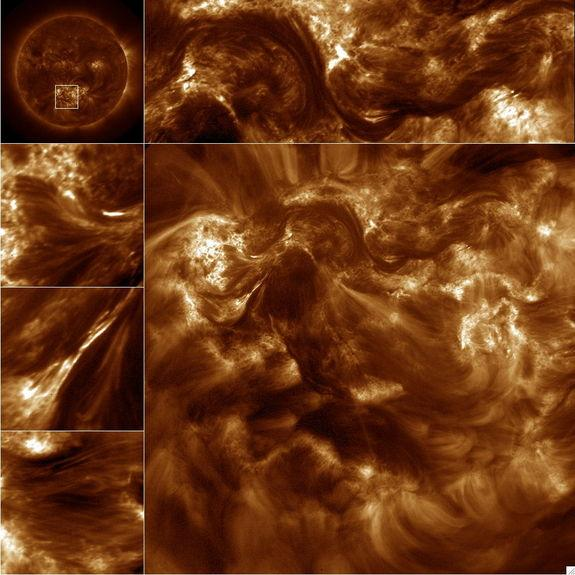 NASA's High-resolution Coronal Imager (Hi-C) capture over 50 16-Megapixel images of the 1.5 million-degree solar corona. The large image is the full frame image and the smaller images along the top and sides are sub fields of the image. The upp
