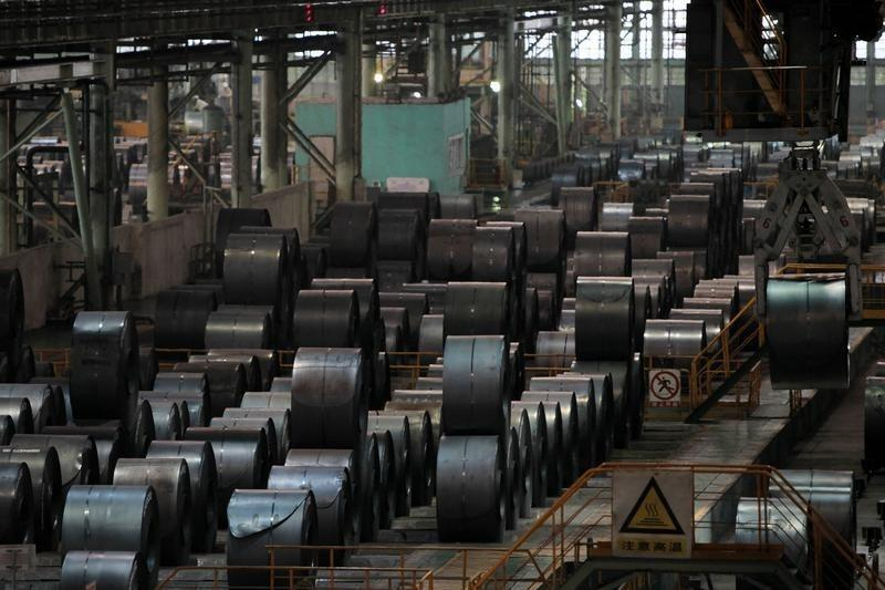 A stainless steel product line is seen at a factory of Baosteel Group Corp in Shanghai