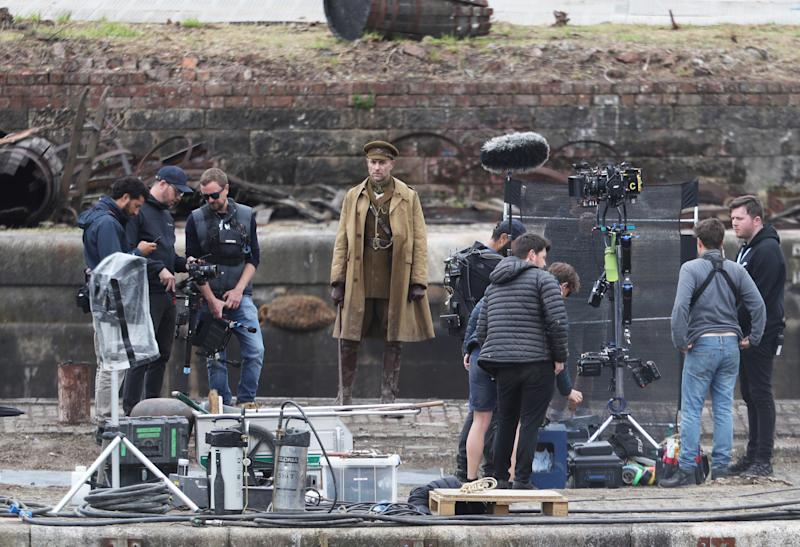 Actor Mark Strong on the set of Sam Mendes' new film 1917 during filming at Govan Docks in Glasgow. (Photo by Andrew Milligan/PA Images via Getty Images)