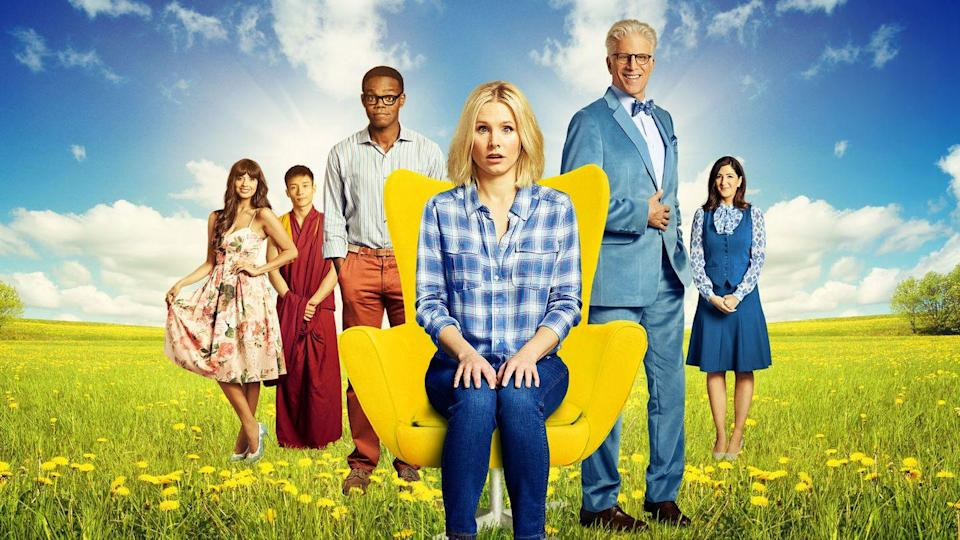 """<p>What comes after death? <em>The Good Place</em> answers the question as Kristen Bell's Eleanor Shellstrop finds herself in a heavenly afterlife despite her not-so-virtuous time on Earth. </p><p><a class=""""link rapid-noclick-resp"""" href=""""https://www.netflix.com/title/80113701"""" rel=""""nofollow noopener"""" target=""""_blank"""" data-ylk=""""slk:Watch Now"""">Watch Now</a><br></p>"""