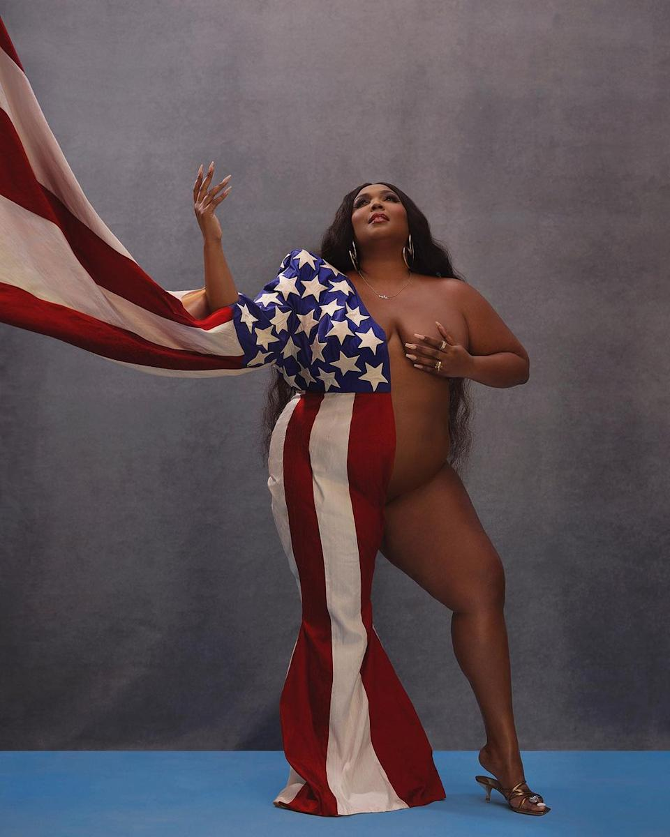 Lizzo nude with an American flag around her