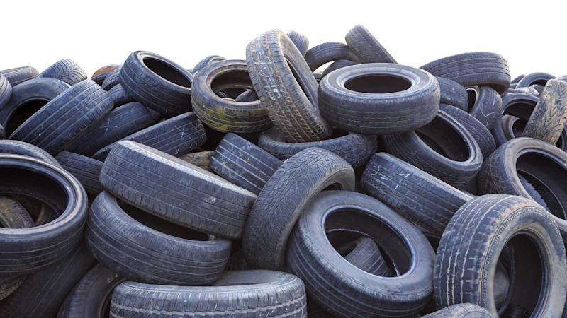 Pile of old car tyres