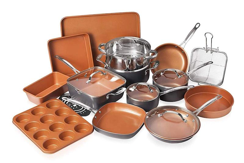 Gotham Steel's kitchen in a box includes 20 pieces of sturdy, nonstick cookware and bakeware. (Photo: Amazon)