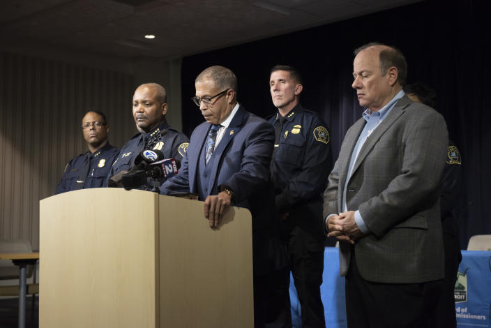 Detroit Police Chief James Craig speaks to the media at Detroit Public Safety Headquarters, Thursday, November 21, 2019, about two officers who were shot Wednesday evening while responding to a home invasion on Detroit's west side. Officer Rasheen McLain was killed during the incident and another officer was wounded. (David Guralnick/Detroit News via AP)