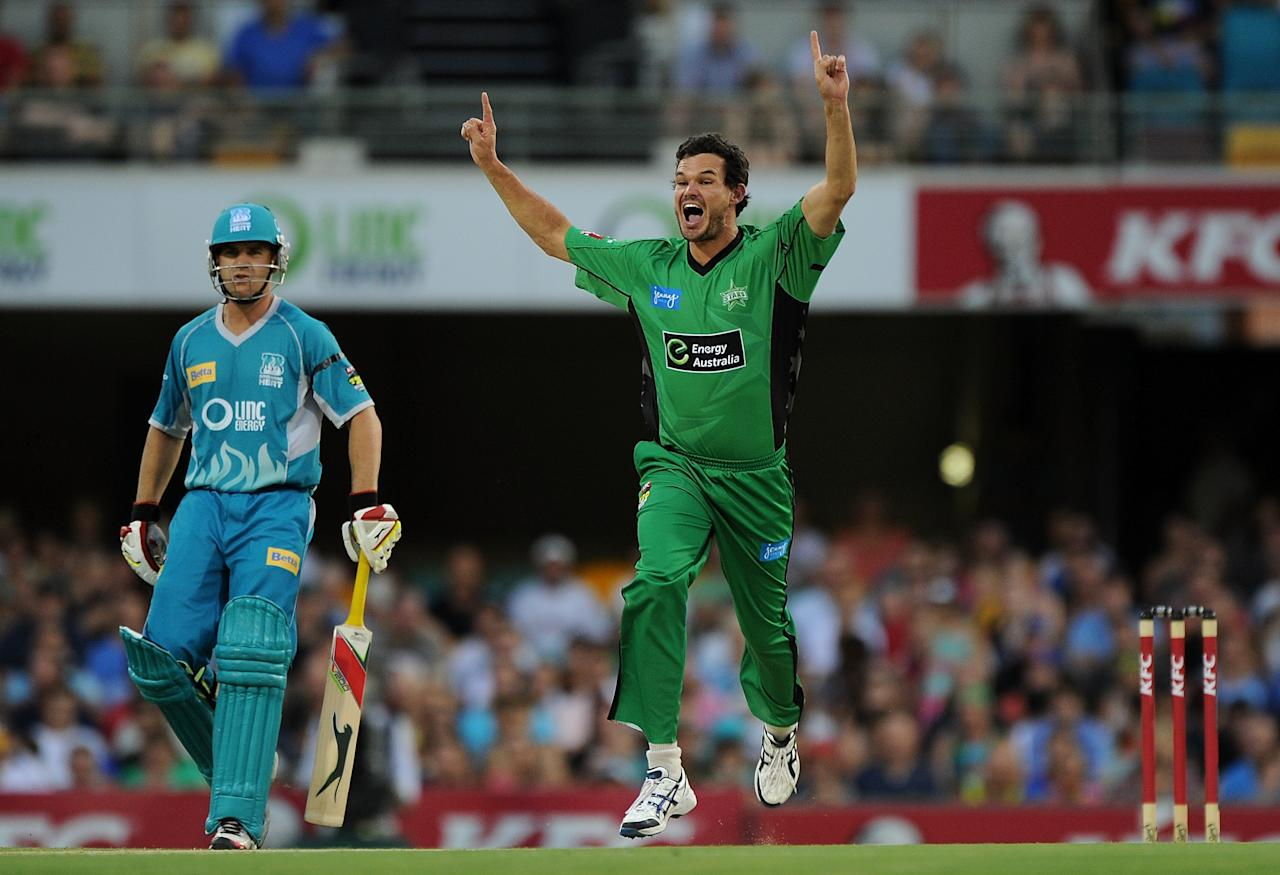 BRISBANE, AUSTRALIA - JANUARY 03:  Clint McKay of the Stars appeals during the Big Bash League match between the Brisbane Heat and the Melbourne Stars at The Gabba on January 3, 2013 in Brisbane, Australia.  (Photo by Matt Roberts/Getty Images)