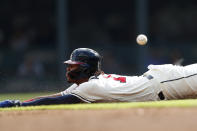 Atlanta Braves' Ronald Acuna Jr. steals second base in the first inning of a baseball game against the Chicago White Sox, Sunday, Sept. 1, 2019, in Atlanta. (AP Photo/John Bazemore)