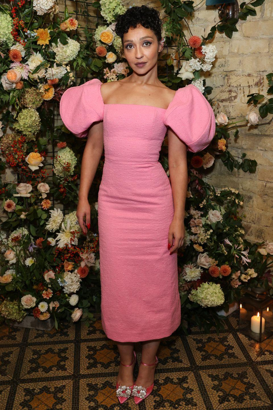 <p><strong>10 October</strong></p><p>Ruth Negga made a statement in a puff-sleeve pink Carolina Herrera dress for the post-premiere party of Passing. </p>