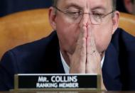 Committee ranking member Representative Doug Collins (R-GA) listens as constitutional scholars testify during a House Judiciary Committee hearing on the impeachment of US President Donald Trump on Capitol Hill in Washington, DC