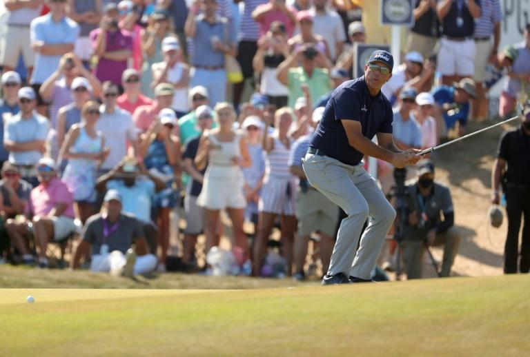 Phil Mickelson reacts to a missed birdie putt in the final round of his historic triumph in the 2021 PGA Championship