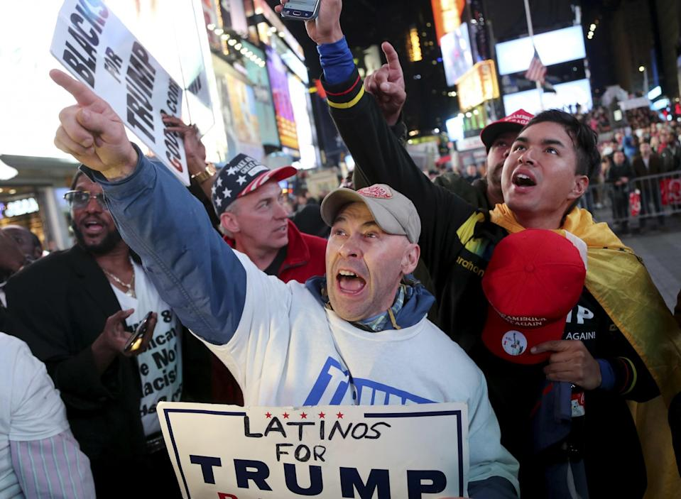 Supporters of Republican presidential candidate Donald Trump react to reports that he had won North Carolina while they were watching results in Times Square, New York, Tuesday, Nov. 8, 2016. (Photo: Seth Wenig/AP)