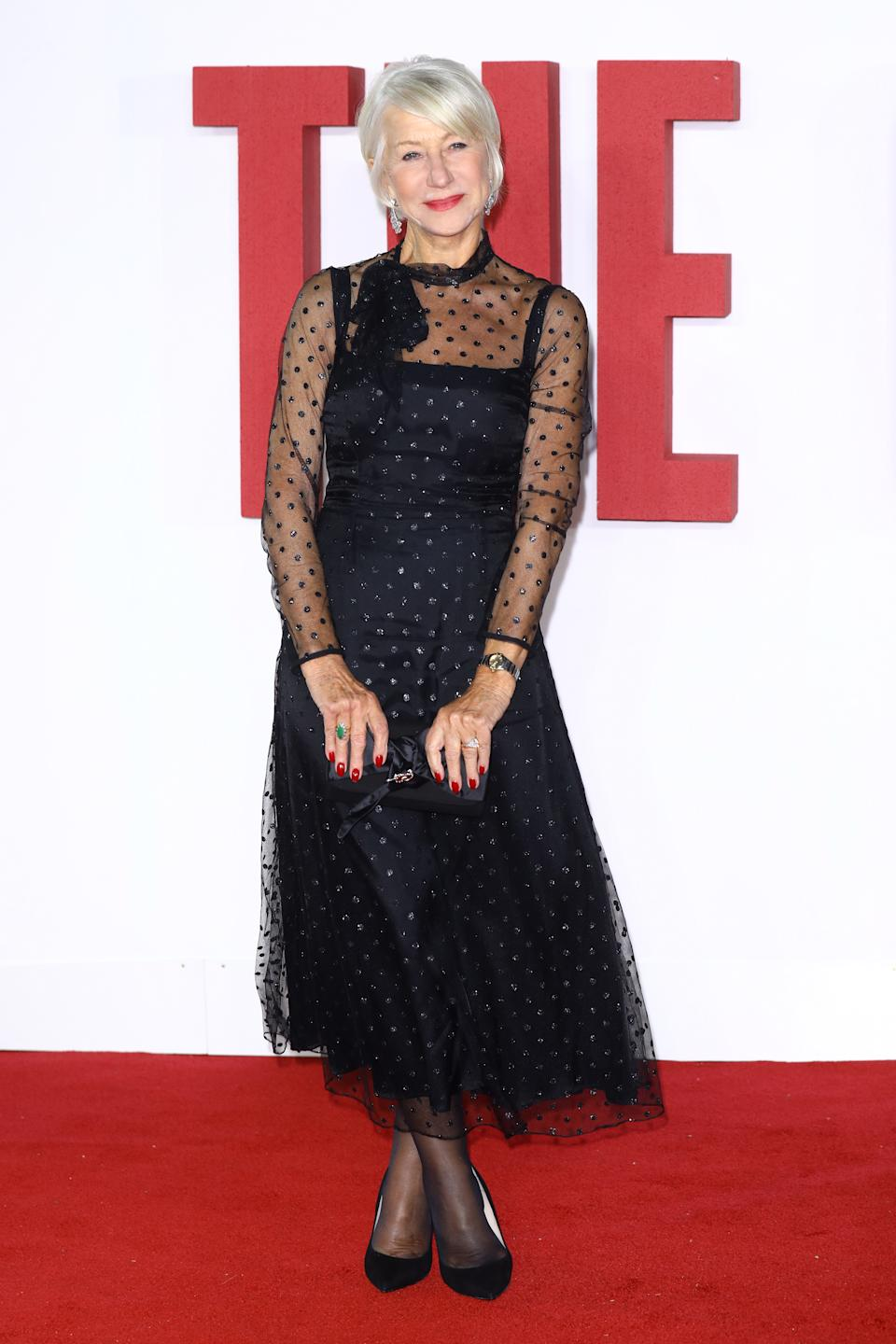 """Helen Mirren wore a glitter polka dot dress with tulle overlay by Goat. The dress is available to <a href=""""https://fave.co/2BRAWVh"""" rel=""""nofollow noopener"""" target=""""_blank"""" data-ylk=""""slk:buy for £1,200"""" class=""""link rapid-noclick-resp""""><strong>buy for £1,200</strong></a>. <em>[Photo: Getty]</em>"""
