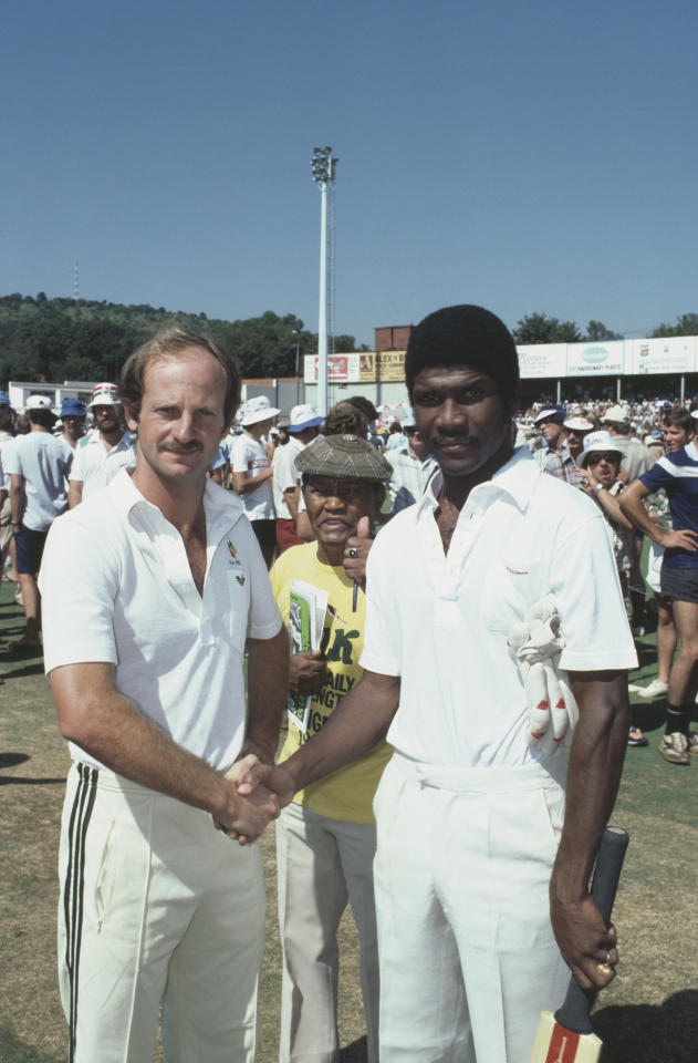 Cricketers Gary Kirsten of South Africa (left) and Lawrence Rowe of the West Indies in Durban for a one-day international during the rebel tour to South Africa of February 1983. (Photo by Adrian Murrell/Getty Images)