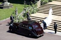 Meghan Markle arrives at St George's Chapel at Windsor Castle for her wedding to Prince Harry in Windsor, Britain, May 19, 2018. Andrew Matthews/Pool via REUTERS