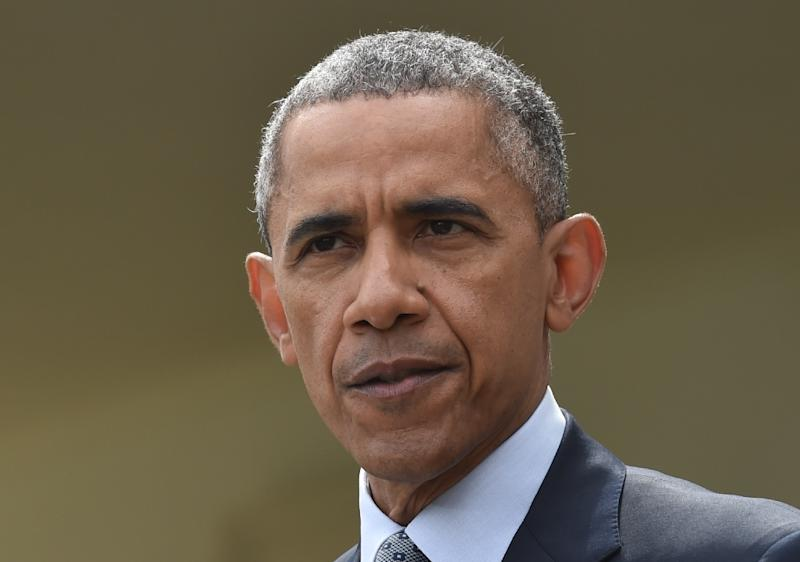 US President Bararck Obama looks on while making a statement at the White House in Washington, DC, on April 2, 2015