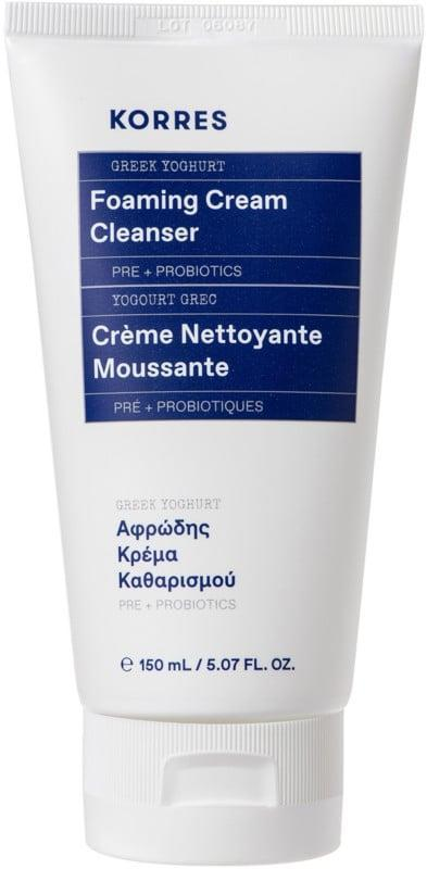 <p>What I love about the <span>Korres Greek Yoghurt Foaming Cream Cleanser</span> ($26) is that it's the best of both cleansing worlds. It's got the suds and lather that will make you feel like you cleansed your skin properly. In fact, this cleanser produces such a rich lather it's better than some of my soap-based cleansers. The rich creaminess of the cleanser nourishes your skin with hydration and moisture. It effectively took the day off without being harsh. The Greek yogurt-based cleanser left my skin feeling like skin, not overly squeaky clean and without a weird residue, like some other cream-based cleansers.</p>