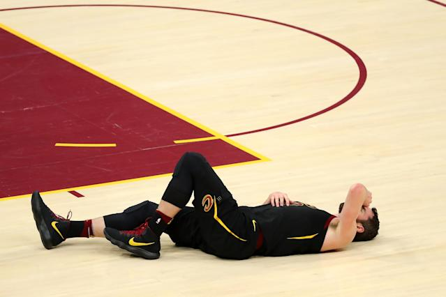 CLEVELAND, OH - MAY 25: Kevin Love of the Cleveland Cavaliers lies on the court after a collision in the first quarter against the Boston Celtics during Game Six of the 2018 NBA Eastern Conference Finals at Quicken Loans Arena on May 25, 2018 in Cleveland, Ohio. (Photo by Gregory Shamus/Getty Images)