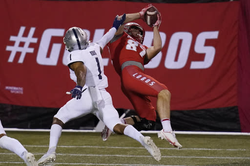 New Mexico wide receiver Andrew Erickson (87) makes a catch over Nevada defensive back Berdale Robins (1) during the second half of an NCAA college football game Saturday, Nov. 14, 2020, in Las Vegas. (AP Photo/John Locher)