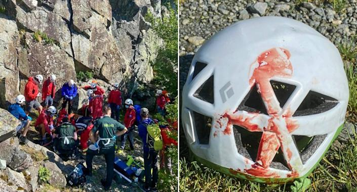 A teenage climber was saved by his helmet after a fall from a cliff face in the Lake District (Keswick Mountain Rescue Team)