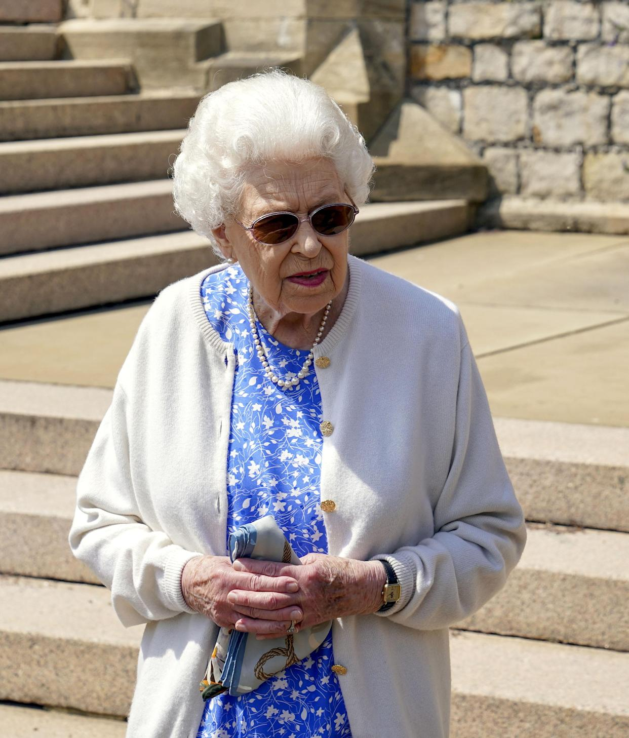 EMBARGOED TO 2200 WEDNESDAY JUNE 9 Queen Elizabeth II in the gardens of Windsor Castle, in Berkshire, where she received a Duke of Edinburgh rose, given to her by the Royal Horticultural Society. The newly bred deep pink commemorative rose from Harkness Roses has officially been named in memory of the Duke of Edinburgh. A royalty from the sale of each rose will go to The Duke of Edinburgh's Award Living Legacy Fund which will give more young people the opportunity to take part in the Duke of Edinburgh Award. Picture date: Wednesday June 2, 2021. The Duke, who died in April this year, would have celebrated his 100th birthday on June 10th.