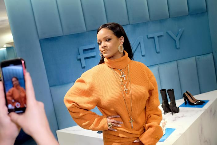 Robyn Rihanna Fenty and Linda Fargo celebrate the launch of FENTY at Bergdorf Goodman at Bergdorf Goodman on February 07, 2020 in New York City. (Photo by Dimitrios Kambouris/Getty Images for Bergdorf Goodman)