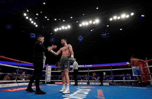Boxing - Josh Taylor vs Winston Campos - WBC Silver Super-Lightweight Title - Glasgow, Britain - March 3, 2018 Josh Taylor with coach Shane McGuigan Action Images via Reuters/Lee Smith