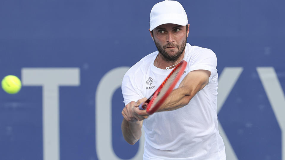 Gilles Simon, pictured here in action at the Tokyo Olympics.