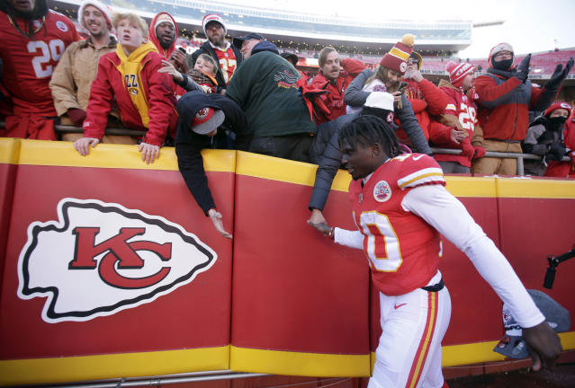 Tyreek Hill is scheduled to make about $720,000 next year, the last season of his contract. That could change, especially in the wake of Odell Beckham's reset of the wide receiver market. (AP)