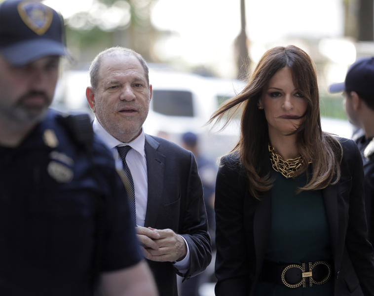 """Harvey Weinstein, left, and attorney Donna Rotunno arrive at court for a hearing related to his sexual assault case, Thursday, July 11, 2019,  in New York. Weinstein's lawyer Jose Baez is going to court Thursday to get a judge's permission to leave the case, the latest defection from what was once seen as a modern version of O.J. Simpson's """"dream team"""" of attorneys.  . (AP Photo/Seth Wenig)"""