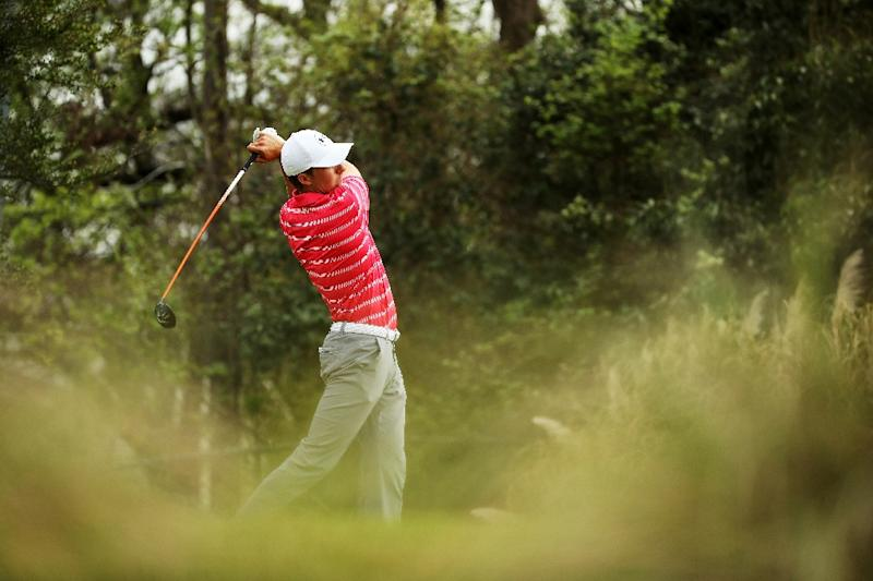Jordan Spieth of the United States plays his shot from the 15th tee during the third round of the World Golf Championships Dell Match Play at Austin Country Club