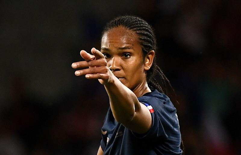 France's defender Wendie Renard gestures during the friendly football match between France and China on May 31, 2019 at the Dominique-Duvauchelle stadium in Creteil. (Photo by FRANCK FIFE / AFP) (Photo credit should read FRANCK FIFE/AFP/Getty Images)