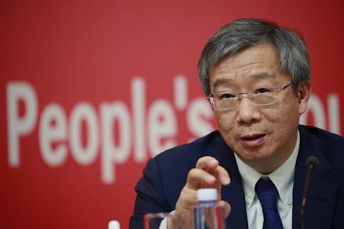 PBOC's Yi Gang during a press conference on September 24. Photo: EPA-EFE