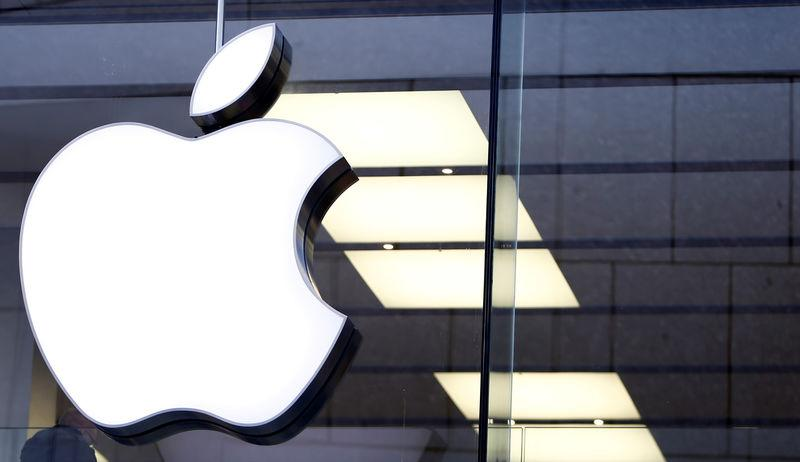 FILE PHOTO: An Apple logo is seen at the Apple store in Munich