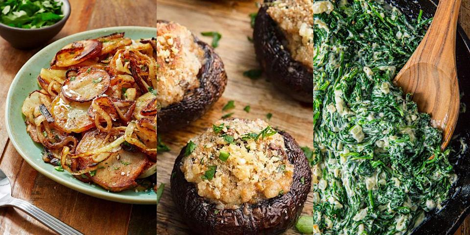 """<p>A <a href=""""https://www.delish.com/uk/cooking/recipes/a36445687/steak-sandwich/"""" rel=""""nofollow noopener"""" target=""""_blank"""" data-ylk=""""slk:steak"""" class=""""link rapid-noclick-resp"""">steak</a> dinner isn't a <a href=""""https://www.delish.com/uk/cooking/recipes/g36487664/steak-recipes/"""" rel=""""nofollow noopener"""" target=""""_blank"""" data-ylk=""""slk:steak dinner"""" class=""""link rapid-noclick-resp"""">steak dinner</a> without a bunch of delicious sides, right? We're talking about <a href=""""https://www.delish.com/uk/cooking/recipes/a29707397/easy-stuffed-mushroom-recipe/"""" rel=""""nofollow noopener"""" target=""""_blank"""" data-ylk=""""slk:Stuffed Mushrooms"""" class=""""link rapid-noclick-resp"""">Stuffed Mushrooms</a>, <a href=""""https://www.delish.com/uk/cooking/recipes/a36210628/baked-onion-rings/"""" rel=""""nofollow noopener"""" target=""""_blank"""" data-ylk=""""slk:Baked Onion Rings"""" class=""""link rapid-noclick-resp"""">Baked Onion Rings</a>, <a href=""""https://www.delish.com/uk/cooking/recipes/a31728813/cheesy-baked-asparagus-recipe/"""" rel=""""nofollow noopener"""" target=""""_blank"""" data-ylk=""""slk:Cheesy Asparagus"""" class=""""link rapid-noclick-resp"""">Cheesy Asparagus</a> and more. The type that pair perfectly with a main of your favourite cut of steak. Need some inspiration? We've got plenty of steak sides for you to flick through.</p><p>Having salmon for dinner, instead? We've rounded up our favourite <a href=""""https://www.delish.com/uk/cooking/recipes/g37032300/salmon-side-dishes/"""" rel=""""nofollow noopener"""" target=""""_blank"""" data-ylk=""""slk:salmon side dishes"""" class=""""link rapid-noclick-resp"""">salmon side dishes</a>, too. You're welcome! </p>"""