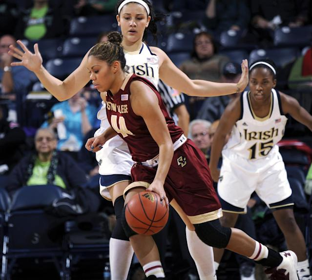 Boston College forward Kat Cooper drives the lane as Notre Dame forward Natalie Achonwa defends in the first half of an NCAA college basketball game, Thursday, Jan. 9, 2014 in South Bend, Ind. (AP Photo/Joe Raymond)