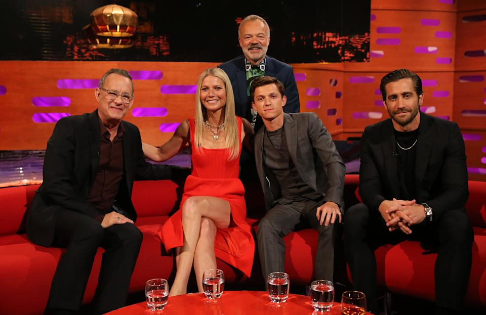 Host Graham Norton with (seated left to right) Tom Hanks, Gwyneth Paltrow, Tom Holland and Jake Gyllenhaal during the filming for the Graham Norton Show at BBC Studioworks 6 Television Centre, Wood Lane, London, to be aired on BBC One on Friday evening. (Photo by Isabel Infantes/PA Images via Getty Images)