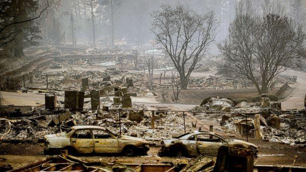 PHOTO: Homes leveled by the Camp Fire line a development on Edgewood Lane in Paradise, Calif., Nov. 12, 2018. (Noah Berger/AP)