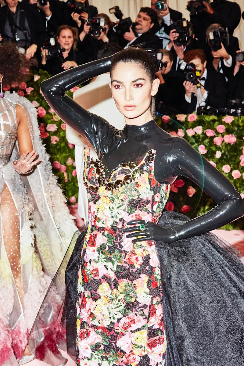 Ruby Aldridge on the red carpet at the Met Gala in New York City on Monday, May 6th, 2019. Photograph by Amy Lombard for W Magazine.