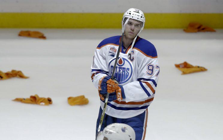 Edmonton Oilers center Connor McDavid reacts after the Oilers' 2-1 loss to the Anaheim Ducks in Game 7 of a second-round NHL hockey Stanley Cup playoff series in Anaheim, Calif., Wednesday, May 10, 2017. (AP Photo/Chris Carlson)