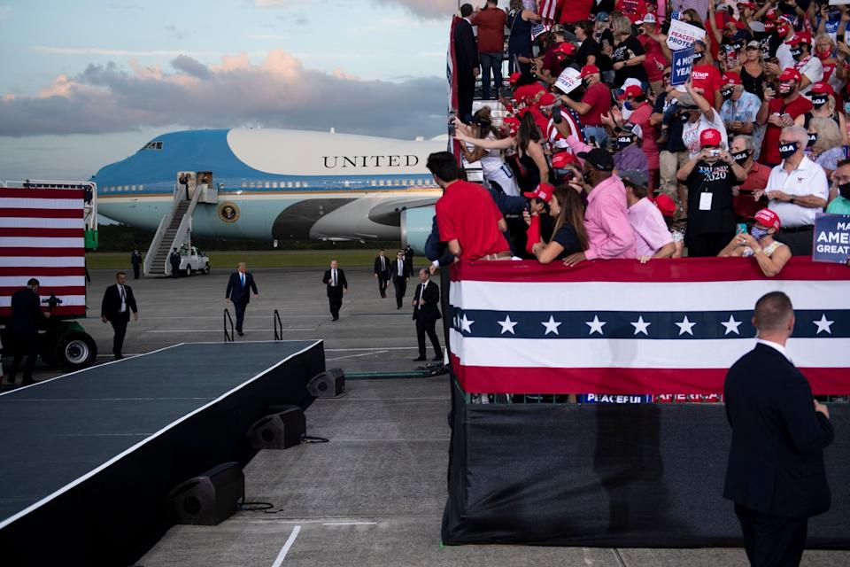 President Trump arrives for a rally Sept. 24 at Cecil Airport in Jacksonville, Fla.