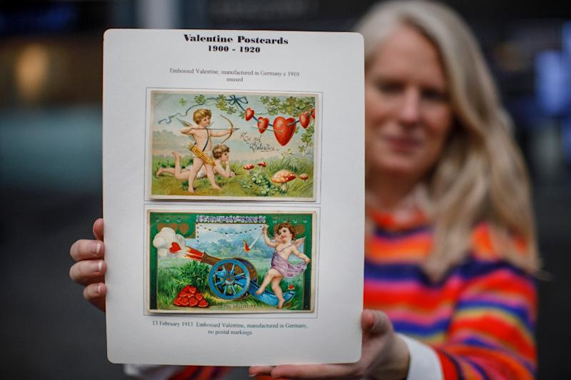 These German Valentine's Day cards from 1910 and 1913 respectively are on display at Stampex International the Business Design Centre in London (AFP Photo/Tolga Akmen)