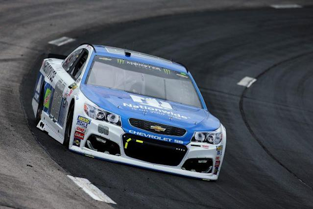 "<a class=""link rapid-noclick-resp"" href=""/nascar/sprint/drivers/88/"" data-ylk=""slk:Dale Earnhardt Jr."">Dale Earnhardt Jr.</a> drives through the top groove application of traction compound Friday. (Getty)"