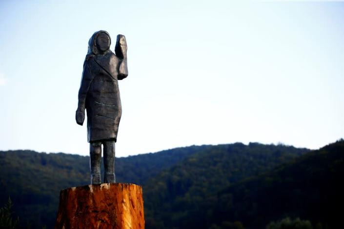 The bronze statue of U.S. first lady Melania Trump is seen in Rozno, near her hometown of Sevnica