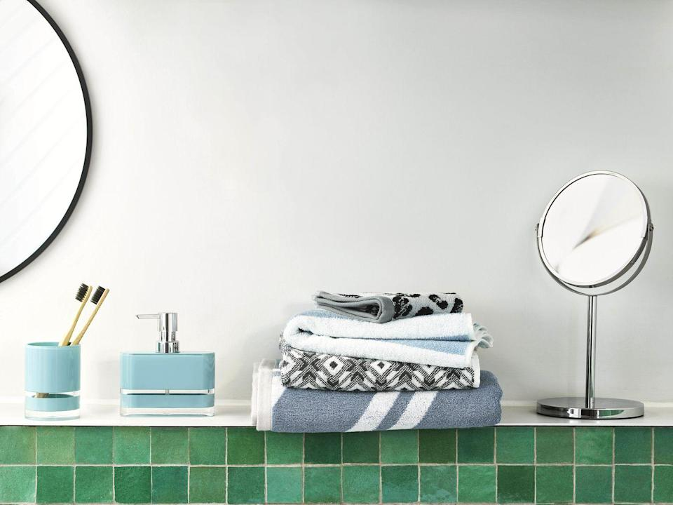 """<p>Nothing pulls together a bathroom scheme quite like matching accessories carefully displayed on a vanity or washbasin. These simple yet stylish essentials in 'Teal' from John Lewis & Partners make an effective and pocket-friendly set. Tumbler, £8; soap dispenser, £10, <a href=""""https://www.johnlewis.com/anyday-john-lewis-partners-block-stripe-soap-dispenser/teal/p3941122"""" rel=""""nofollow noopener"""" target=""""_blank"""" data-ylk=""""slk:johnlewis.com"""" class=""""link rapid-noclick-resp"""">johnlewis.com</a></p>"""