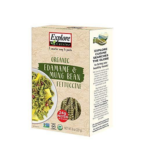 "<p><strong>EXPLORE CUISINE</strong></p><p>amazon.com</p><p><strong>$34.14</strong></p><p><a href=""https://www.amazon.com/dp/B004UB9P38?tag=syn-yahoo-20&ascsubtag=%5Bartid%7C2140.g.34284393%5Bsrc%7Cyahoo-us"" rel=""nofollow noopener"" target=""_blank"" data-ylk=""slk:Shop Now"" class=""link rapid-noclick-resp"">Shop Now</a></p><p>Made from a mix of edamame and mung bean, this fettuccine has the same texture as pasta that contains gluten. It also has a whopping 24 grams of protein. ""The consistency of the noodles is almost identical to wheat pasta, but this is much more filling,"" a reviewer said.</p><p><em>Per serving: 180 cal, 4 g fat, 20 g carbs, 0 mg sodium, 14 g fiber, 24 g protein</em></p>"