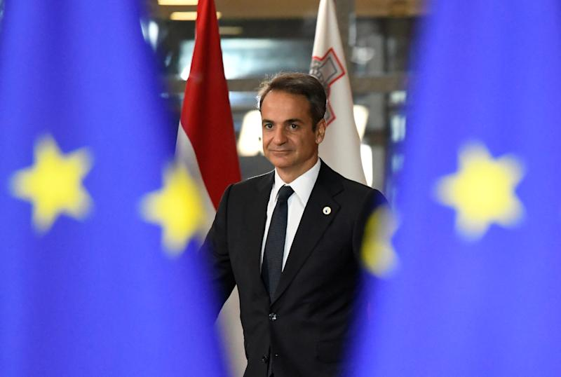 Greek Prime Minister Kyriakos Mitsotakis arrives for the second day of the European Union leaders summit dominated by Brexit, in Brussels, Belgium October 18, 2019. REUTERS/Piroschka van de Wouw