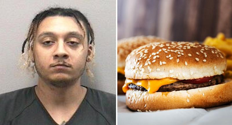 Florida man Kyle Jamison Jones allegedly slapped his girlfriend with a cheeseburger. Source: Martin County Sheriff's Office (L), Getty, file. (R)