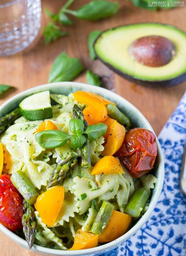 "<p><strong>Get the recipe:</strong> <a href=""http://sweetpeasandsaffron.com/2014/06/avocado-pesto-pasta-salad-with-roasted-summer-vegetables.html"" class=""link rapid-noclick-resp"" rel=""nofollow noopener"" target=""_blank"" data-ylk=""slk:avocado pesto pasta salad"">avocado pesto pasta salad</a></p>"