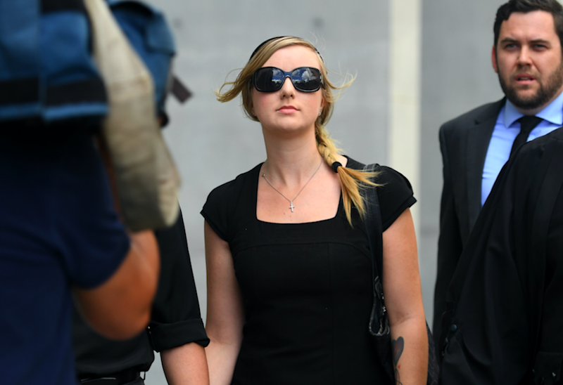 Michelle Leask leaves the Supreme Court in Brisbane, Wednesday, Feb. 8, 2017. Ms Leask pleaded guilty to the manslaughter of her 7 week old daughter Lili Cataldo between April 28 and May 5, 2012. Photo: AAP