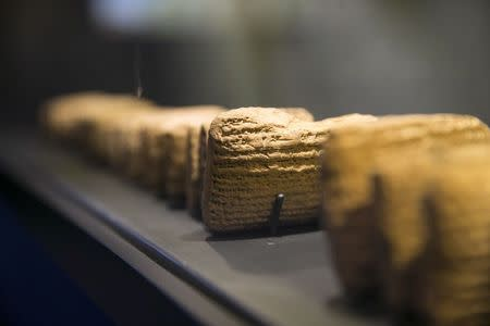 Cuneiform tablets are displayed during an exhibition at the Bible Lands Museum in Jerusalem, February 3, 2015. REUTERS/Baz Ratner